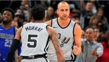 Manu Ginóbili, increíble, lo hizo otra vez: ganó el partido de los Spurs a tres segundos del final.