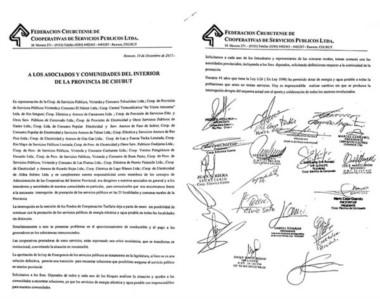 El lapidario documento que difundió la Federación de Cooperativas sobre las dificultades económicas.