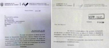 La nota aclaratoria del Ministerio de Infraestructura (izq.) y la nota de la DGSP enviada a Sepaucal. Hubo otras cinco similares.