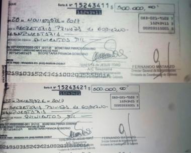 Valores. Los cheques de la polémica que nunca se cobraron por ventanilla sino que se depositaron.