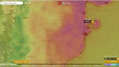 Otro día para ir a la playa. Este jueves la térmica superará los 33 grados. (Windy.com)