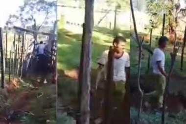 """Fragmento del video donde el chacarero """"pescó"""" a Andrade con las manos en la masa ."""