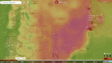El portal del clima Windy.com muestra en rojo la ola de calor pronosticada para este martes, en especial en el centro oeste de la provincia.