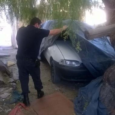 La Policía descubrió oculto el auto que usó el delincuente armado.