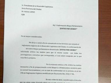 """La diputada y la conformación del unibloque """"Juntos por Chubut""""."""