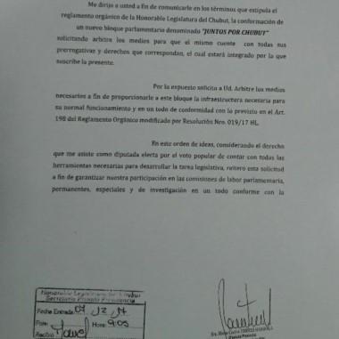 La nota presentada por Torres Otarola para conformar un nuevo bloque