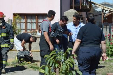 Personal médico asistió a un bombero en el lugar