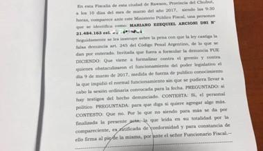 La denuncia que fue presentada por el vicegobernador ante Fiscalía.
