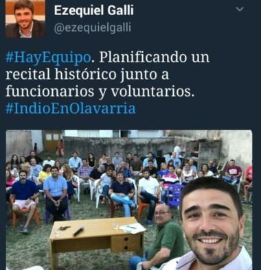 Tuit del intendente Galli un par de días antes del recital.