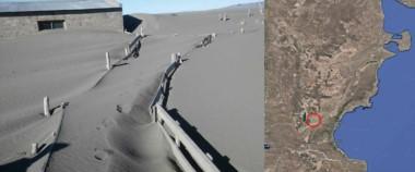 La imagen del INTA muestra un establecimiento agrario tapado por los sedimentos del Colhué Huapi.