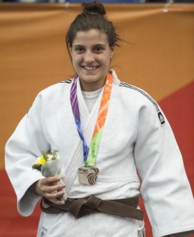 Lafeuillade con su medalla, en el Panamericano de Santiago de Chile.