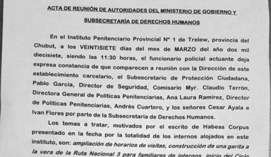 El acta que se firmó tras la huelga de hambre en la cárcel de Trelew.