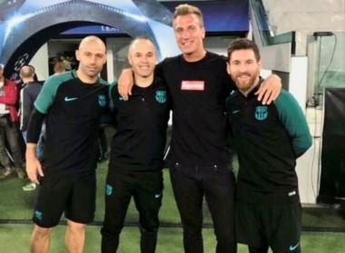 Maxi López se reencontró con Messi, Mascherano e Iniesta en la previa de Juventus-Barcelona.