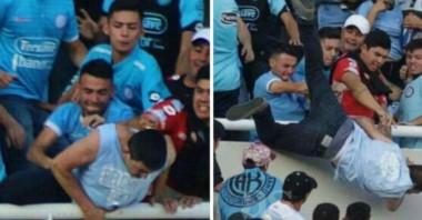 Las cámaras captaron el momento donde el hincha de Belgrano cae al vacío.