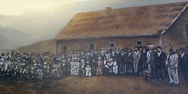 La mítica postal de aquel día histórico en Trevelin, cuyo aniversario se cumplirá este domingo.