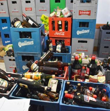 En una  vivienda incautaron 800 litros de sustancias alcohólicas.