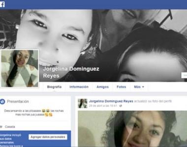 La cuenta de Facebook de Jorgelina Domínguez Reyes. Mujer que posee antecedentes policiales y judiciales.