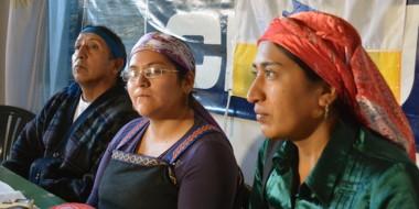 Trío. Jones Huala (izquierda), Jaramillo y Millañanco explicaron su posición ante la comitiva de la ONU.
