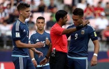 Lautaro Martínez la sacó barata y recibió una fecha de suspensión tras ser expulsado en el debut de Argentina en el Mundial Sub 20.