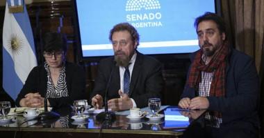 Exposición. Desde la izquierda, Garea, Luenzo y Viale durante la discusión por la central nuclear.