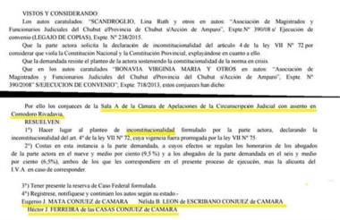 Facsímil del fallo de la Cámara de Apelaciones que declaró inconstitucional parte del articulado.