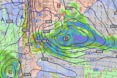 Mapa de previsión meteorológica para el viernes (gentileza INTA)