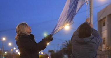 La Intendenta de Rawson presidió a primera hora de la mañana de ayer, el acto  de izamiento  de l a bandera.