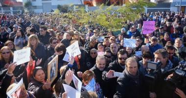 Los familiares encabezaron la protesta y fueron recibidos por autoridades de Prefectura Naval Argentina.
