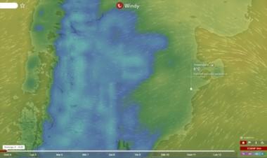 El portal del clima, Windytv muestra en azul la masa de aire frío y nieve que se esperan para la cordillera y la meseta central.