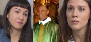 Yasmí y Mailin Gobbo (derecha), víctimas del cura pedófilo Carlos José (centro).