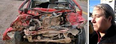Postales. Así quedó el vehículo tras el accidente que tuvo a Luz como víctima fatal. Su tía Victoria explicó la solidaria decisión de la familia.