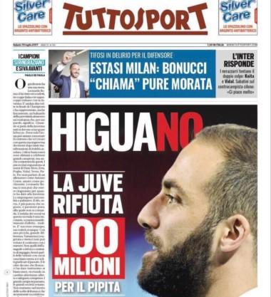 Tuttosport y una tapa que impacta. Juventus rechazó una oferta de 100 millones € por Gonzalo Higuaín.
