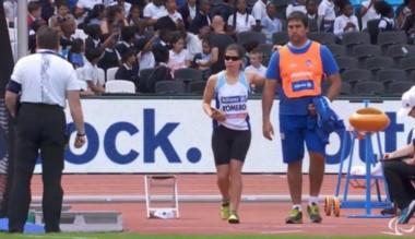 La atleta Florencia Romero en pista, durante el Mundial de Londres.