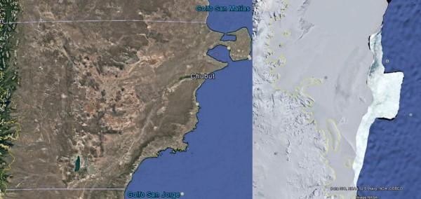Comparación del tempano (en blanco a la derecha) con el perfil de la costa chubutense. El iceberg mide más de 300 km de largo por 70 de ancho. (Google Earth).