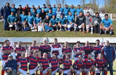 """Arriba las """"Cebras Classic"""", abajo los """"Viejos Lobos de Mar"""". Ambos equipos fueron protagonistas ayer."""