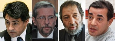 De izquierda a derecha, el defensor Javier Allende, el juez penal Sergio Piñeda, el defensor Abdón Manyauik y el fiscal Fabián Moyano..