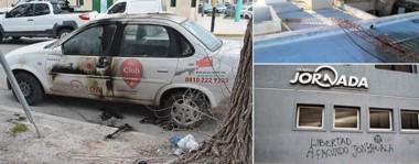 El Corsa de Jornada con los vestigios del ataque con la  Molotov (izq.). Hace pocos días cortaron los tensores de la antena de FM Tiempo en Madryn, y pintaron la fachada del diario.