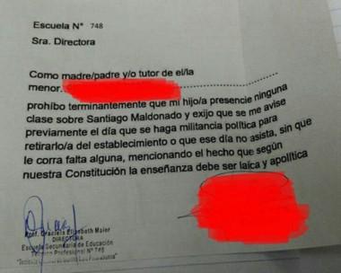 Comunicado. Así lució la nota del padre que no quiere que su hijo esté en charlas sobre Maldonado.