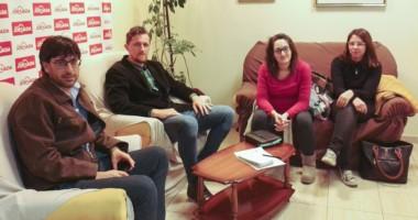 Marcos Fragoza, Pablo  Almonacid , Isabel Staib y Guadalupe Paz Morejón, en diálogo con Jornada .
