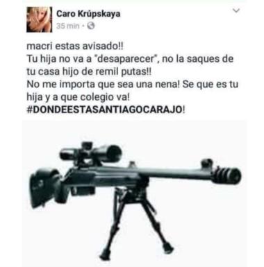 Este es el mensaje intimidatorio que le dejaron a Macri en Facebook. Luego fue eliminada la cuenta.