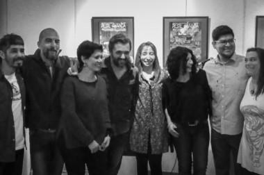 Los artistas Tomás Gimbernat, Natalia Jankowski, Emiliano Bellini y Alex Dukal presentes en la apertura.
