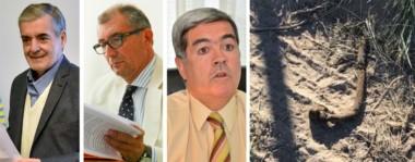Protagonistas. Das Neves, Báez y Miquelarena, en el centro de las repercusiones. Y una postal de un cable del sistema de frenos del vehículo del fiscal, que tuvo daños intencionales.