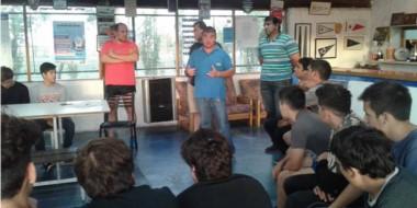 """""""Pepe"""" Sánchez al habla en una de las reuniones que se realizó días atrás en la sede de Trelew Rugby Club."""