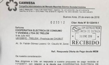 El facsímil de la nota que envió CAMMESA a la Cooperativa de Trelew.