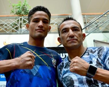 """Jesús Vargas y Omar Andrés Narváez se medirán en un combate pactado a diez rounds en el gimnasio """"Lujan Barrientos"""" del Deportivo Madryn."""