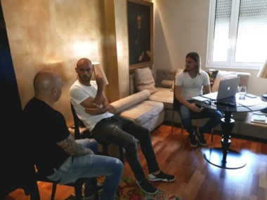 Jorge Sampaoli y Javier Mascherano, juntos en Barcelona.