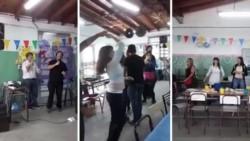 Momento de la fiesta de los docentes en la escuela cerrada por una explosión de gas. Los padres se quejaron por la actitud de los maestros ya que sus hijos no tienen clases. (Los Andes)