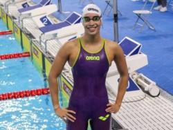 Alegría interminable para Lema tras hacer historia en la natación argentina: consiguió un récord nacional juvenil (27s55) e igualó la marca absoluta de Macarena Ceballos (27s16).