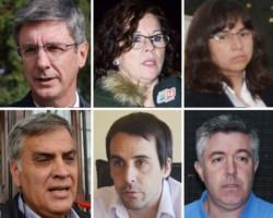 """Protagonistas. Desde la izquierda, Wengier, Nichols, Rojas, Ruiz y Taccetta, protagonistas de una cumbre que expuso los intentos de Cambiemos por disimular lo que """"hicimos mal""""."""