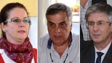 Protagonistas. Nichols (izquierda), Ruiz y Ongarato, piezas claves de un escándalo inesperado en Esquel.